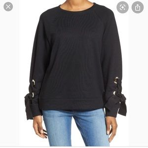 NWT Halogen Grommets + Bows Sweater
